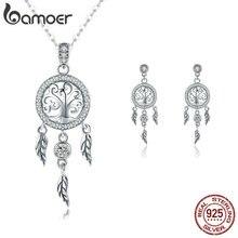 Подлинное искусственное серебро BAMOER, дерево жизни, Ловец снов, ювелирные изделия, ожерелья с кулоном, Подарочные ювелирные изделия из стерлингового серебра