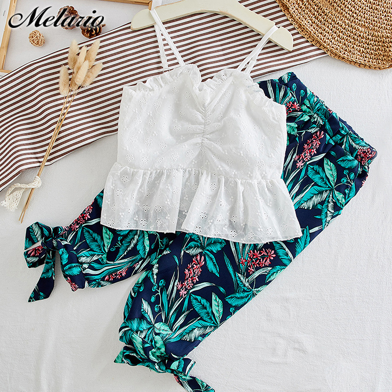 Melario Girls Clothing Sets New Summer Casual Sling T-shirt And Print Pants 2Pcs For Girl Kids Clothes Children Clothing 3 7T