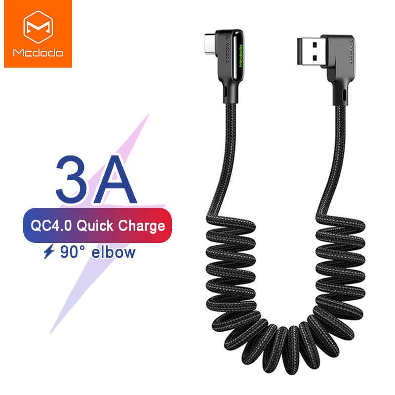 Mcdodo geri çekilebilir araba yay C tipi 3A USB kablosu için Huawei Xiaomi Samsung S10 bir artı hızlı şarj 4.0 şarj cihazı veri LED kablo