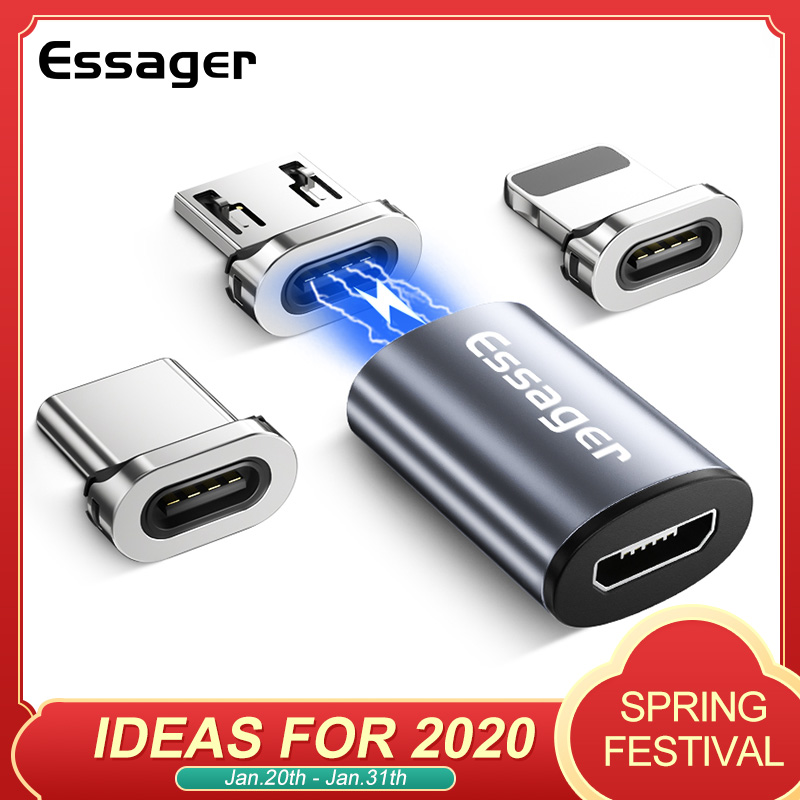 Essager Magnetic Micro USB Adapter For IPhone Samsung Xiaomi Micro USB Female To Type C Male Cable Magnet Converters Connector