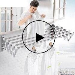 Support de séchage extérieur mural de salle de bains de luxe support de séchage rétractable étendoir à linge en acier inoxydable
