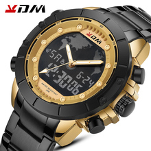 KDM Top Brand Men Watch Big Dial Sport Watches Mens Chronograph Quartz Wristwatch Date Male Clock Steel Strap Relogio Masculino цена 2017