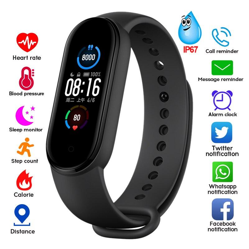 Мужские и женские Смарт-часы фитнес-трекер монитор пульса и артериального давления Bluetooth водонепроницаемые Смарт-часы M5 для часов Xiaomi