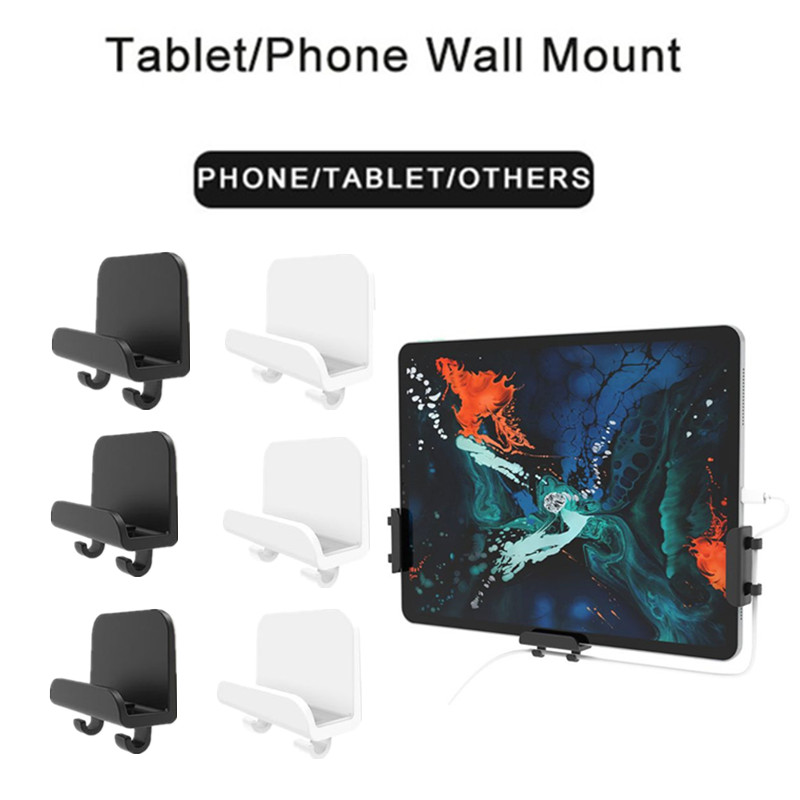 3x Universal Cellphone Tablet Holder Wall Mount Stand For IPad IPhone Support Storage Cables And Home Hook Hanger