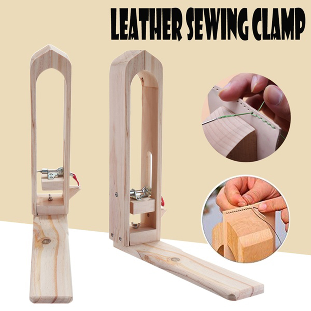 DIY Desktop Leather Craft Wood Clip Lacing Stitching Clamp Stainless Steel Stretch Bar Hand Tool For Leather Sewing Tool