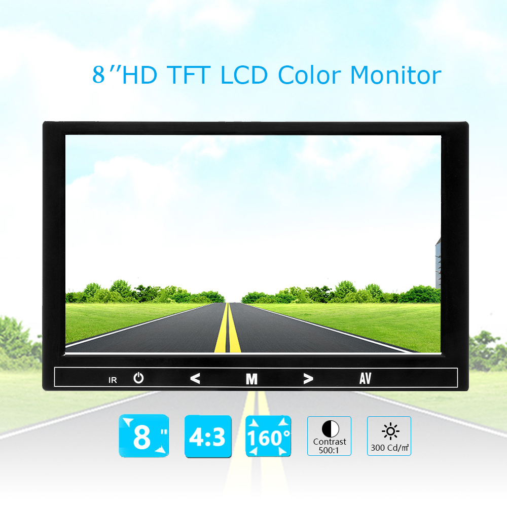 4:3 8 Inch TFT LCD Screen  Color Video Monitor CCTV Monitor HDMI VGA BNC AV Input For PC CCTV Security And Supports HD 1024*768