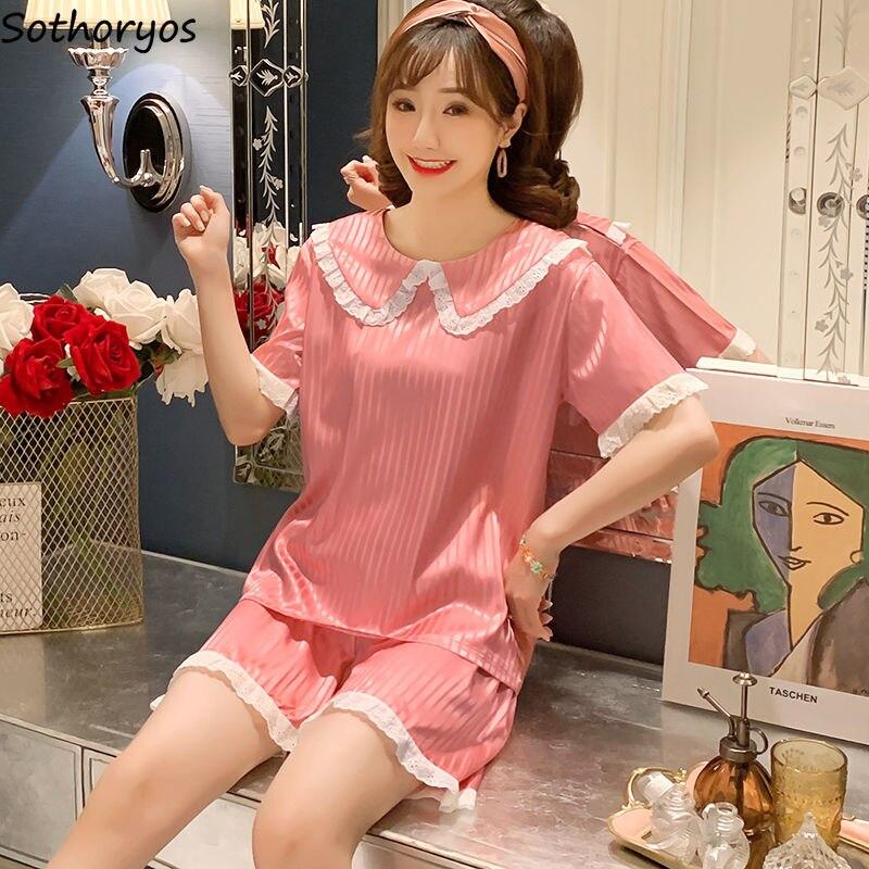 Pajama Sets Shorts Women Summer Ruched Ruffles Bows Slip Thin Sexy Korean Style Homewear Elegant Rayon Stylish Lace Womens Chic