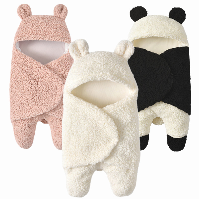 Thick Warm Plush Baby Swaddle Cartoon Panda Modeling Newborn Baby Sleeping Wrap Blanket Photography Prop For Babies Boys Girls