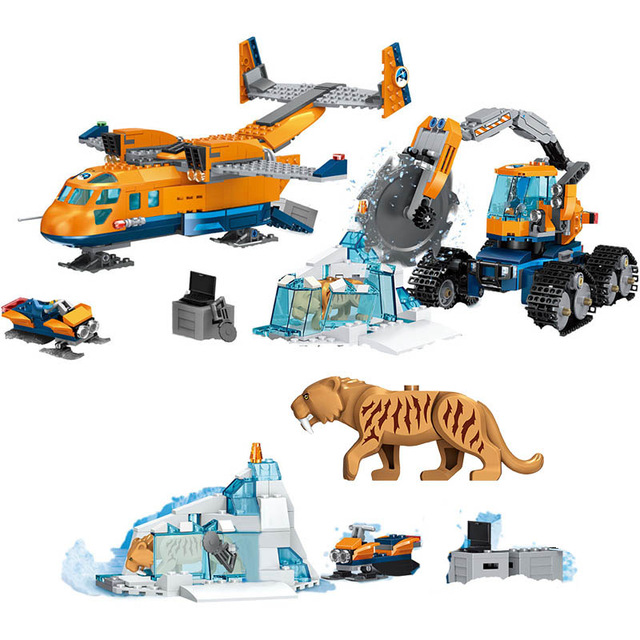 City Arctic Air Plane Transport Scout Truck Technic Building Block Gift Toys Set