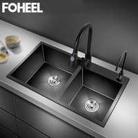 Черная кухонная раковина FOHEEL, двойная раковина из матовой нержавеющей стали, ручная работа, кухонные раковины FKS10