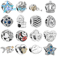 Bule Star 100% 925 Sterling Silver Glamour  KISS lipstick heart-shaped Bright Star  Love You Lock bead Charm
