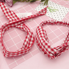 Korea Simple Fresh Red Plaid Cross Headband Elastic Hair Bands Headdress for Girls Children Fashion Accessories