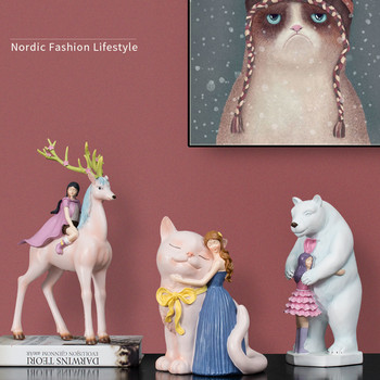 [HHT] Nordic Creative Design Fairy Unicorn Girl Home Decoration Accessories Living Room Ornaments New Year Blessing Gifts