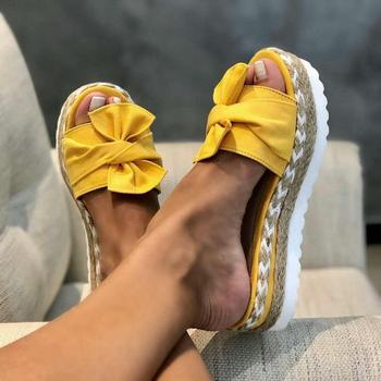 Женские блестящие туфли, женские летние сандалии с бантом 2020, шлепанцы для дома и улицы, пляжные сандалии на платформе