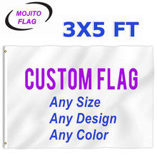 Custom Flag 3x5 Foot Banners - Print Your Own Logo/Design/Words - Vivid Color,Canvas Header,Double Stitched - 100D Polyester