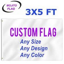 Bandeiras feitas sob encomenda do pé da bandeira 3x5-imprima seu próprio logotipo/design/palavras-cor vívida, encabeçamento da lona, dobro costurado-100d poliéster