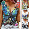 2021 New Womens Summer Sleeveless Fashion Butterfly Print Blouse Shirt Buttons Sexy V Neck Off Shoulder Pullover Tops