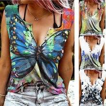 2021 nuevo de verano para mujer sin mangas de moda estampado de mariposa camisa blusa botones Sexy V cuello hombro Tops Jersey
