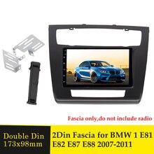 Podwójna ramka wykończeniowa radia samochodowego Din dla BMW 1 E81 E82 E87 E88 2007 2011 odtwarzacz Stereo DVD interfejs panelu wykończenia adapter płyta czołowa Bezel