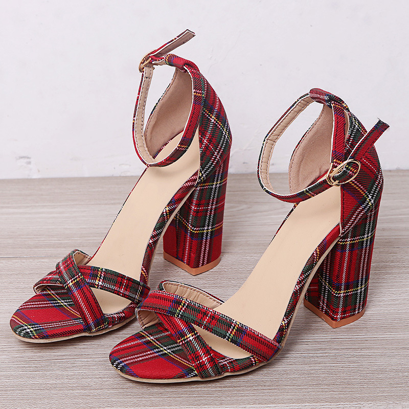 Korean retro Plaid color block small high heels women's new 2020 summer one word open toe women's sandals with buckle