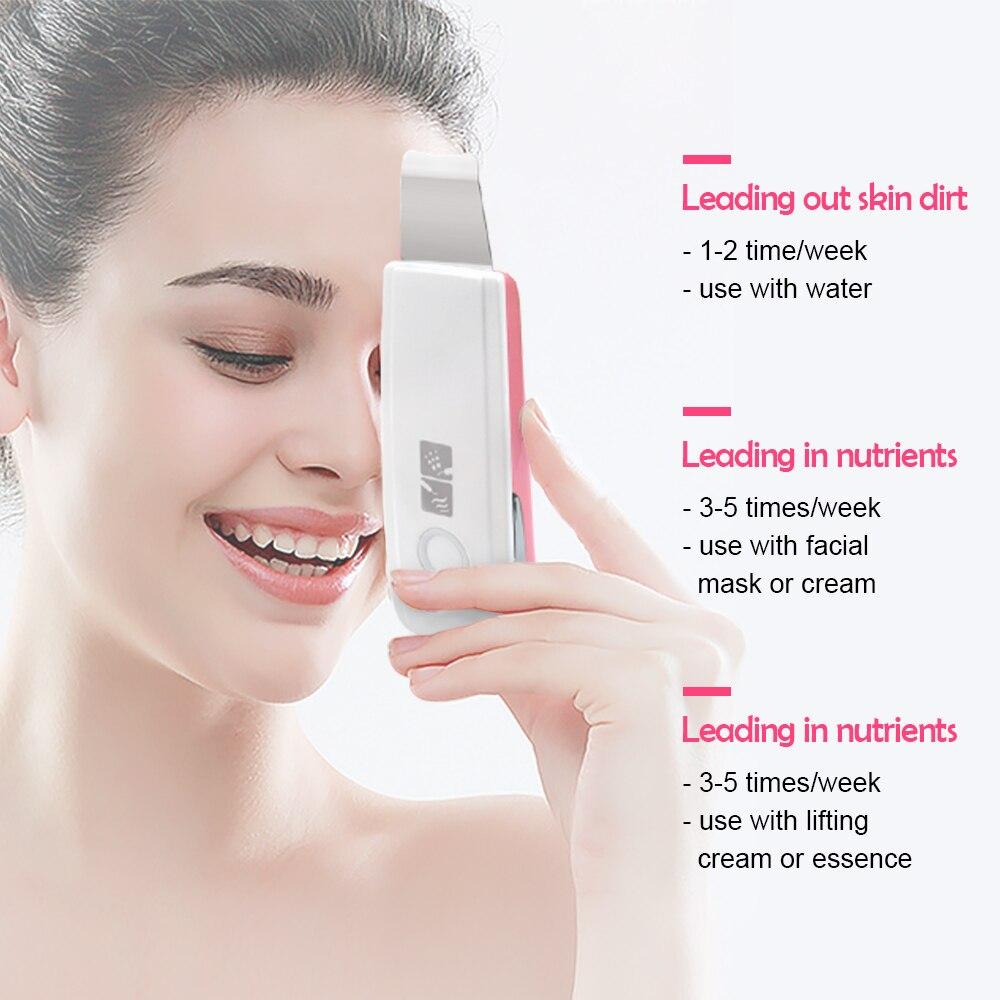 Nouveau épurateur de peau ionique à ultrasons Microdermabrasion Rechargeable nettoyage en profondeur haute fréquence Vibration visage Peeling masseur Spa