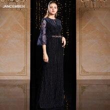 J9066 jancember שמלת ערב בטורקיה o צוואר שלושה רובע שרוול sashes תחרה חיל הים כחול שמלת ערב платье вечернее длинное