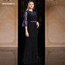 J9066 jancember vestido de noche en Turquía cuello redondo de tres cuartos de manga de encaje azul marino vestido de noche de la muchacha