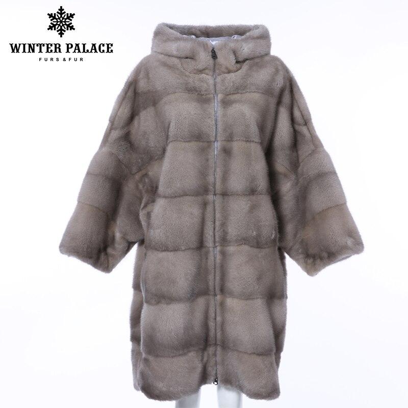 Hiver PALACE 2019 nouveau hiver vison manteau de fourrure longue chauve-souris femmes manteau rayures horizontales mode chaud vison manteau neuf quart manches