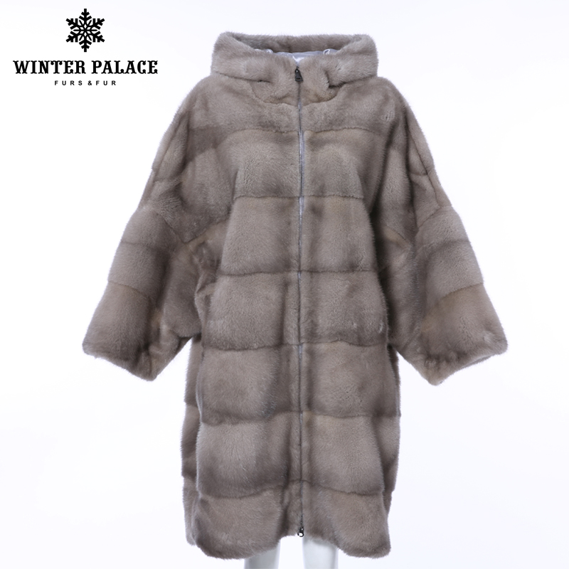 WINTER PALACE 2019 New Winter Mink Fur Coat Long Bat Women's Coat Horizontal Stripes Fashion Warm Mink Coat Nine Quarter Sleeve
