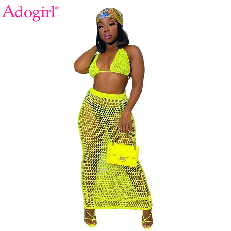 Adogirl Crochet Two Piece Set Summer Beach Dress Hand Knitted Hollow Out Bra Top Maxi Skirt Sheer Fishnet Cover Up Casual Suits