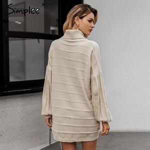 Image 4 - Simplee Turtleneck knitted women sweater dress Autumn winter casual lantern sleeve female dress Elegant soft ladies party dress