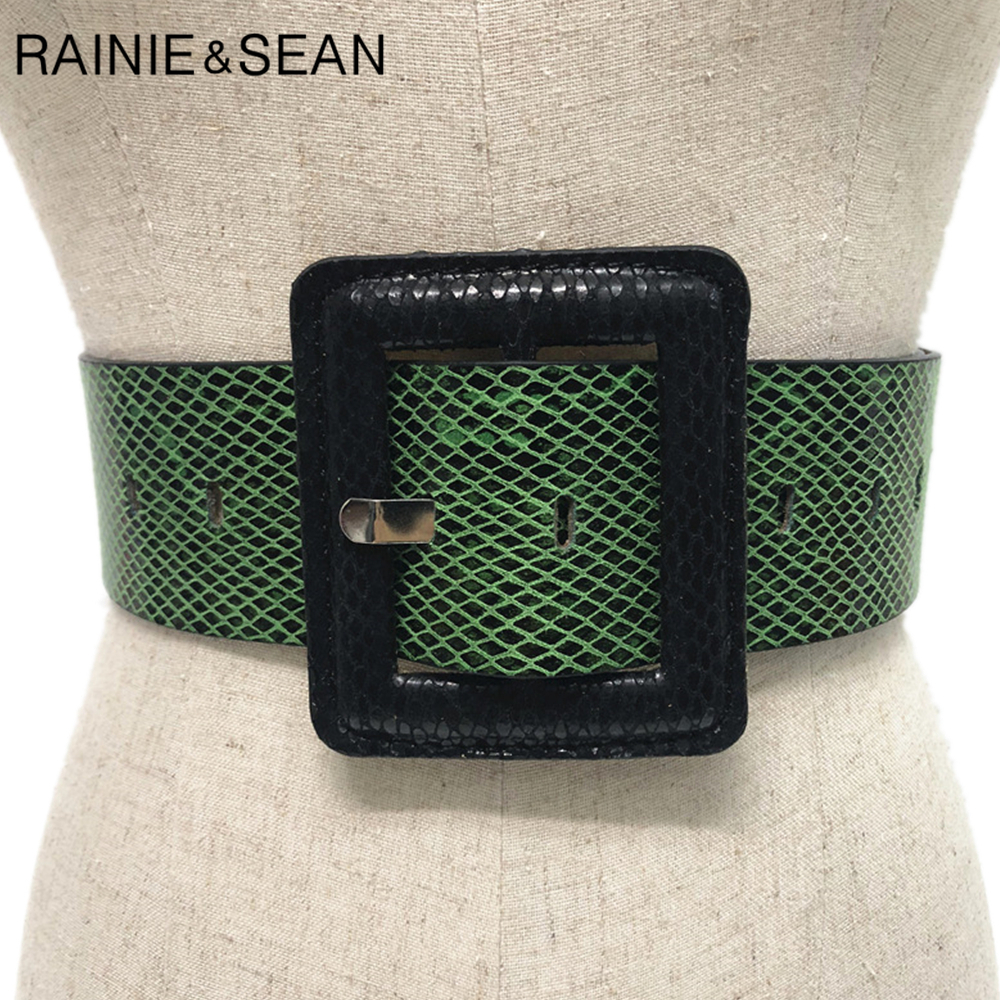 RAINIE SEAN Snakeskin Grain Women Wide Waist Belt Big Square Buckle Autumn Green Pink Black Yellow Vintage Ladies Dress Belts
