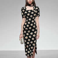 Seifrmann Summer Women Fashion RunwayMidi Dress Short Sleeve Elegant Bodycon Floral Print Ladies Split Pencil Dresses vestidos