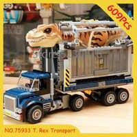 Auf Lager T. rex Transport 10927 Jurassic World Series 609PCS Jurassic Park Bausteine Modell Kinder Klassische Spielzeug 75933