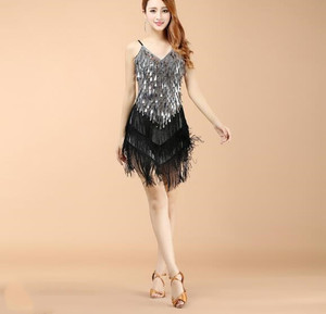 Image 3 - Wholesale Women Fringe Latin Dresses Girls Competition Tassel Dance Performance Costume Golden Cheap On Sale
