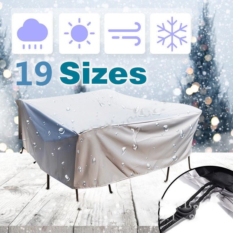 Cubierta impermeable de la cubierta del polvo de los muebles de 19 tamaños al aire libre Patio jardín lluvia nieve silla cubre para sofá Mesa silla cubierta a prueba de polvo