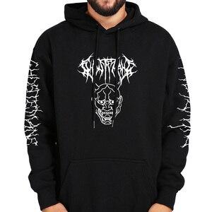 Image 5 - Ghostemane Hoodies Kwik Retrograde Afbeelding Gedrukt Sweatshirt Zwarte Lange Mouw Fluwelen Warme Zachte Hooded