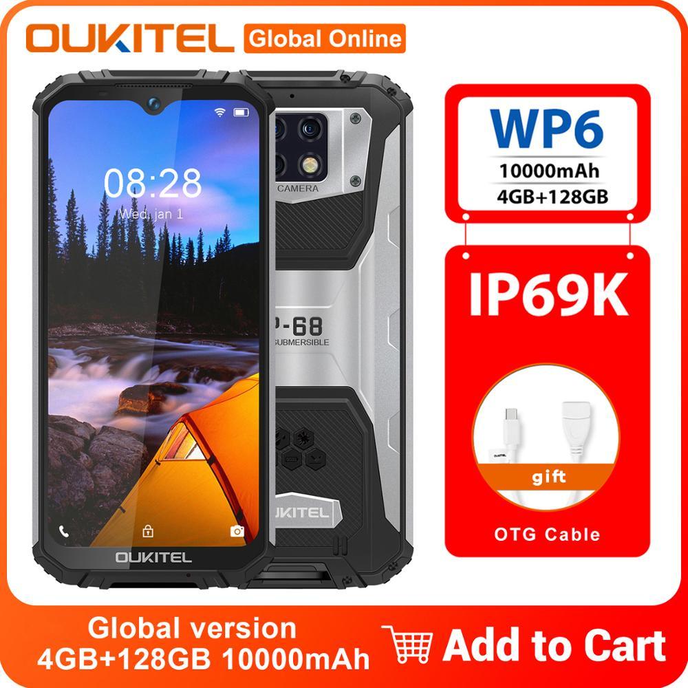 OUKITEL WP6 IP68 IP69K Водонепроницаемый смартфон 10000 мА/ч, 4 Гб + 128 Гб 6,3