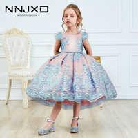 Niñas princesa vestidos infantiles para niñas de encaje tutú flor bordado vestido de bebé Niñas Ropa de los niños vestido de fiesta de boda