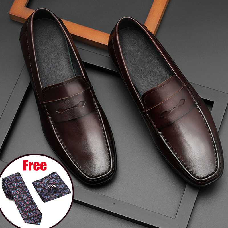 Men Leather Summer Casual Shoes Male Sneakers Shoes Loafer Men 2020 Slip On Black Men's Genuine Leather Shoes