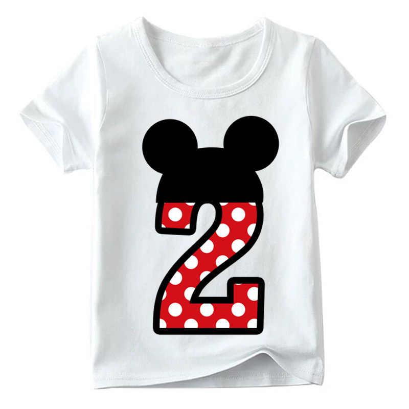 T เสื้อชาย/หญิงวันเกิดแฮปปี้โบว์น่ารักพิมพ์เสื้อผ้าเด็กตลก T เสื้อเด็กหมายเลข 1 -9 วันเกิด
