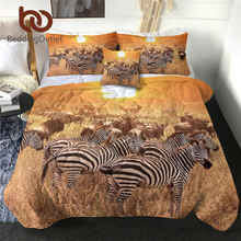 BeddingOutlet cebra delgada edredón 3D impreso cubierta de cama 4 Uds Animal colcha de verano con funda de almohada Tropical Sunset colcha verano