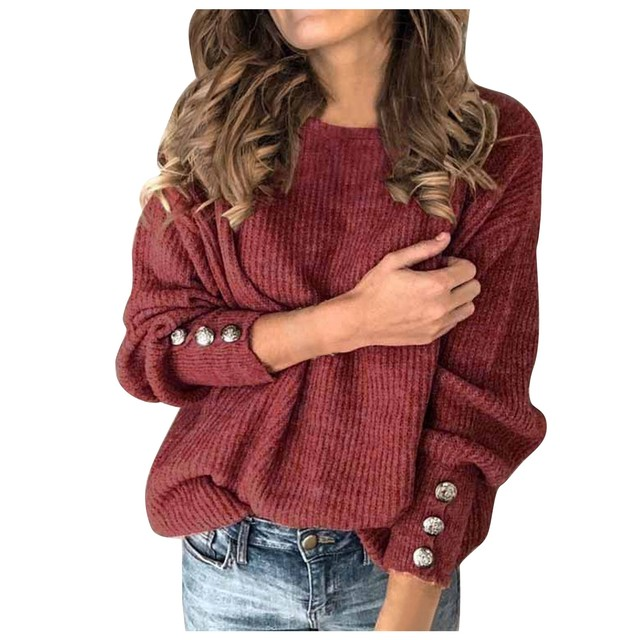 #53 Women's Fashion Solid Color Pullover Round Neck Warm Long Sleeve Sweater Fashion Simple And Elegant Mujer Suéteres 5