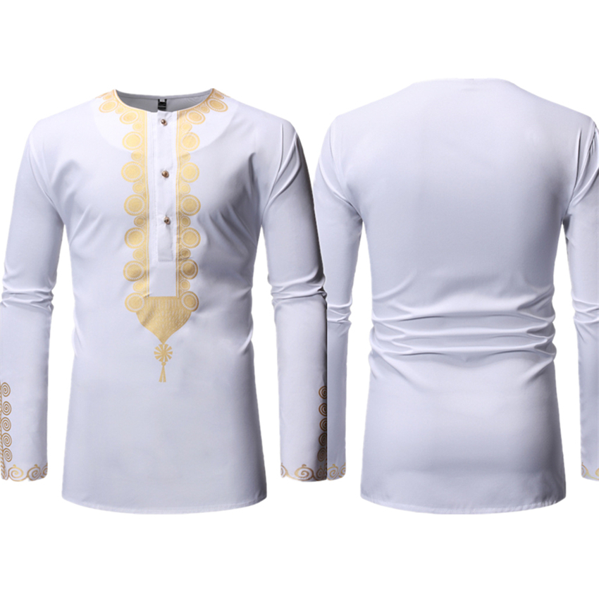 Long Sleeve Print Shirt For Mens Dresses Traditional Rich Bazin White Clothing Africa Fashion Style Blouse Tops S-2XL