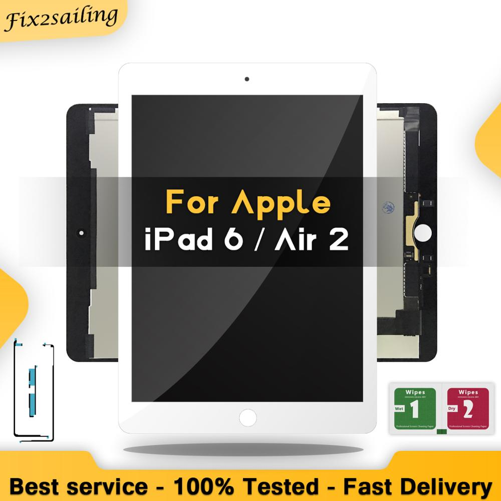 9.7'' New For Apple IPad 6 Air 2 A1567 A1566100% New Grade 100% LCD Display Touch Screen Digitizer Assembly Replacement+Adhesive