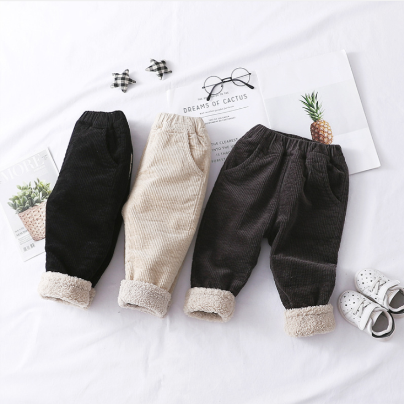 Winter Baby Pants Toddler Baby Boys Pants Kids Trousers For Boy Girl Trousers Thick Velvet Corduroy Warm Baby Harem Pants 1-3Y