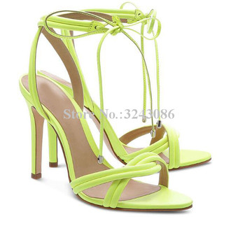 New Lemon Green Lace-up Sandals Lady Sweet Rose Red Stiletto Heel Cross Straps High Heel Sandals Women Large Size Party Shoes