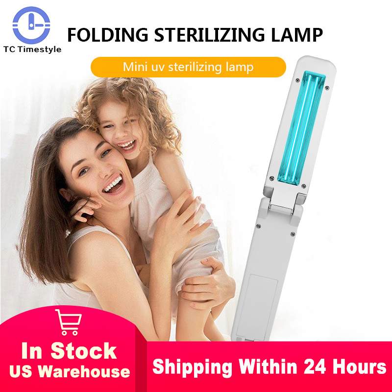 Handheld UVC Disinfection Lamp 2W UV Sterilization Lamp Folding Ultraviolet Disinfection Light Travel Sterilizing Lights