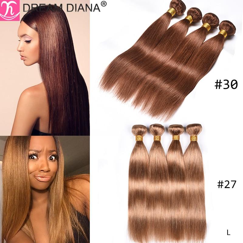 DreamDiana Pre Colored Straight Hair Bundles Colored Malaysian Hair 3 Bundles #2 4 27 30 33 99J 10-26