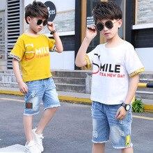 Boys Clothing Set 2019 Fashion Summer Letter Print T-shirts  Denim Shorts Children Hole Jeans 2 Pcs Suit Kids New